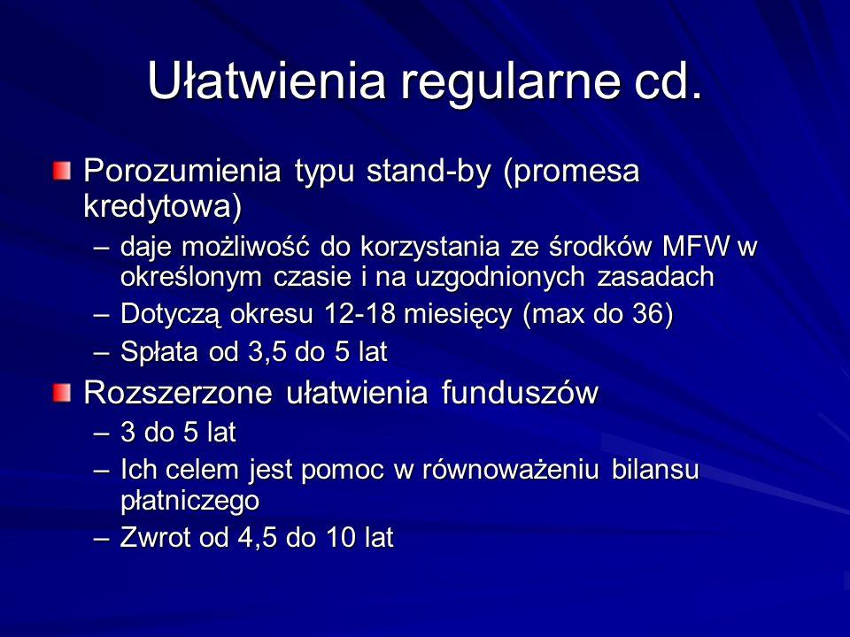 Ułatwienia regularne cd. Porozumienia typu stand-by (promesa kredytowa) –daje możliwość do korzystania ze środków MFW w określonym czasie i na uzgodni