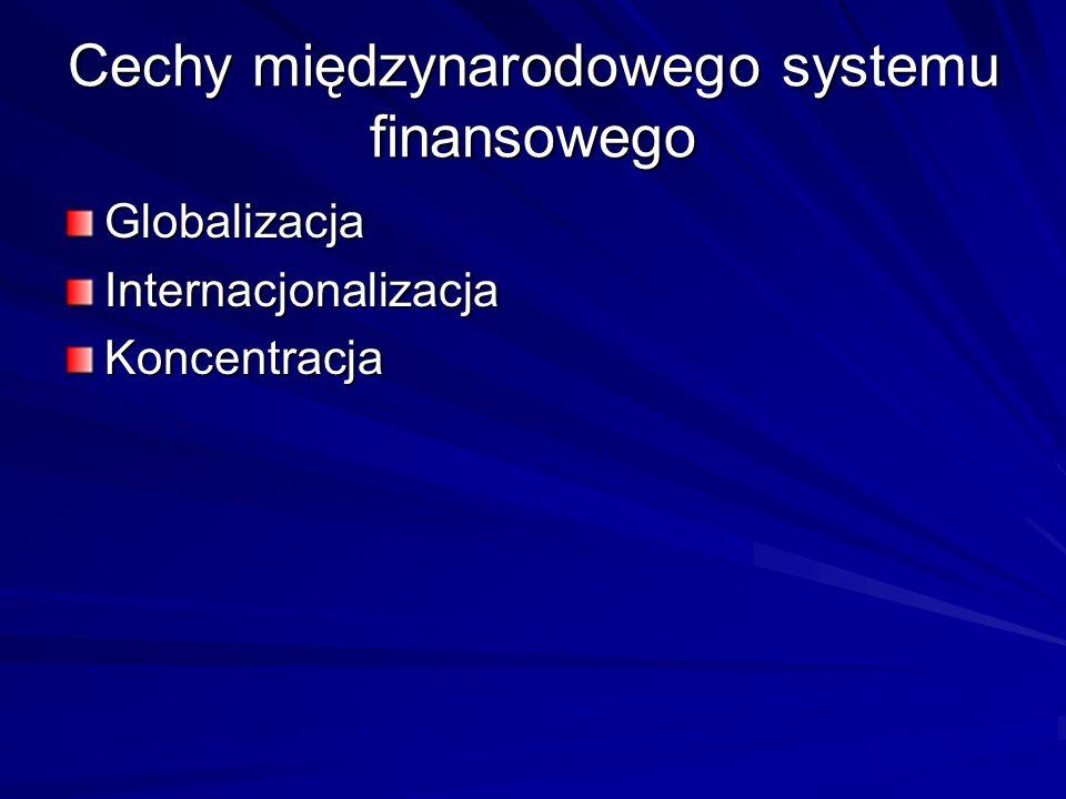 Cechy międzynarodowego systemu finansowego GlobalizacjaInternacjonalizacjaKoncentracja