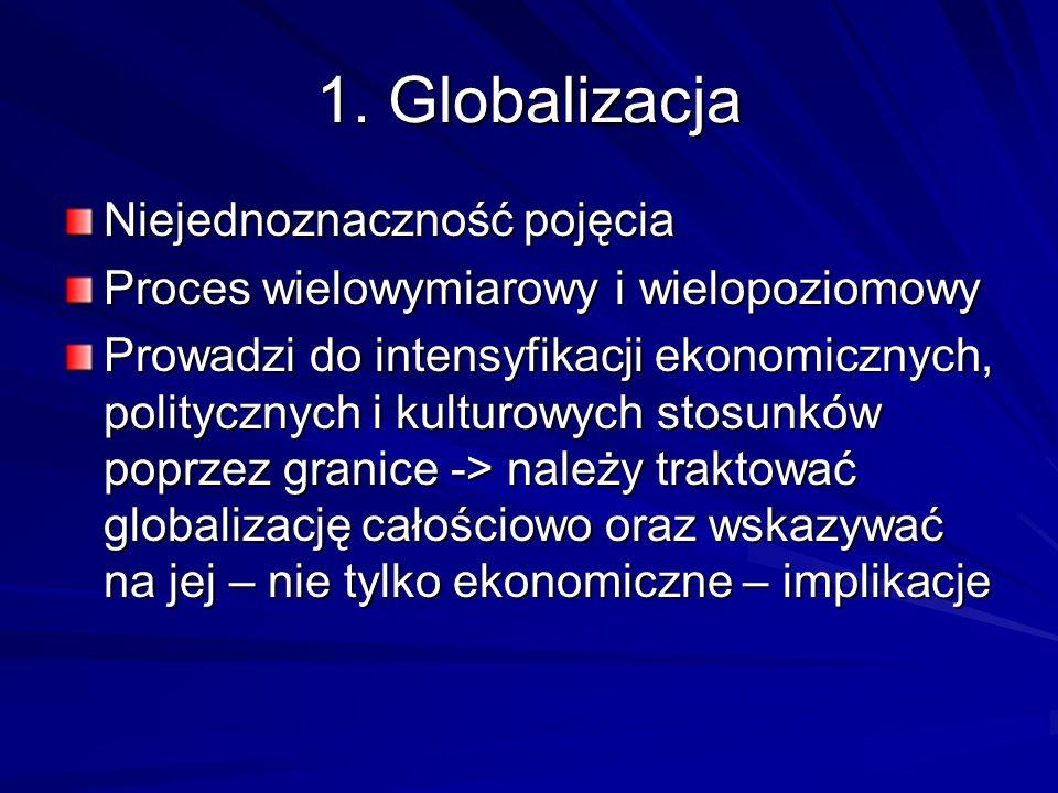 1. Globalizacja Niejednoznaczność pojęcia Proces wielowymiarowy i wielopoziomowy Prowadzi do intensyfikacji ekonomicznych, politycznych i kulturowych