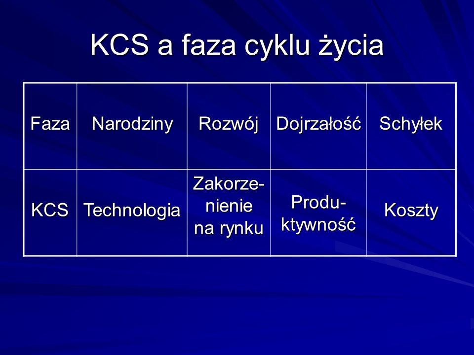 KCS a faza cyklu życia FazaNarodzinyRozwójDojrzałośćSchyłek KCSTechnologia Zakorze- nienie na rynku Produ- ktywność Koszty