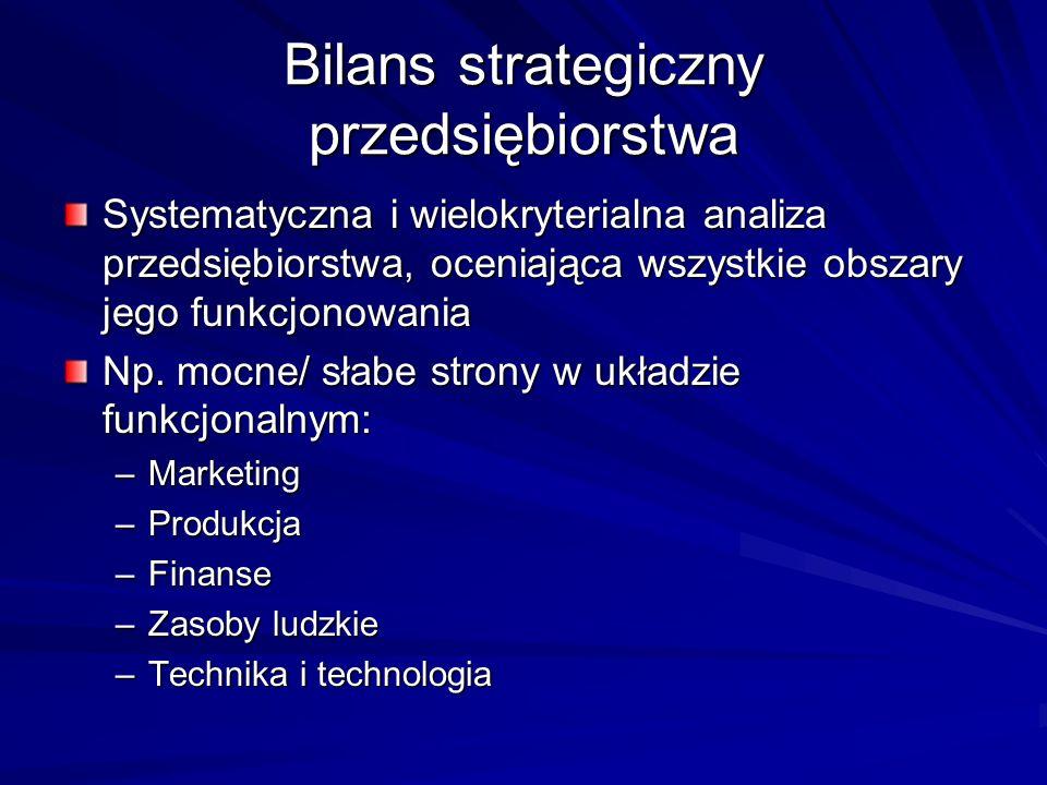 Bilans strategiczny przedsiębiorstwa Systematyczna i wielokryterialna analiza przedsiębiorstwa, oceniająca wszystkie obszary jego funkcjonowania Np. m