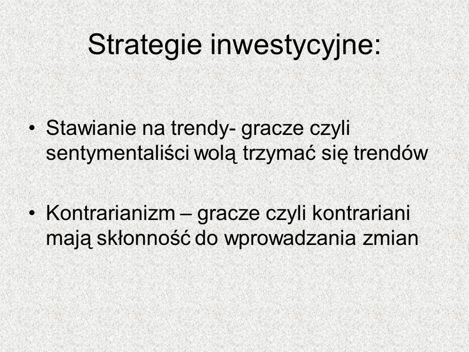 Stawianie na trendy- gracze czyli sentymentaliści wolą trzymać się trendów Kontrarianizm – gracze czyli kontrariani mają skłonność do wprowadzania zmi