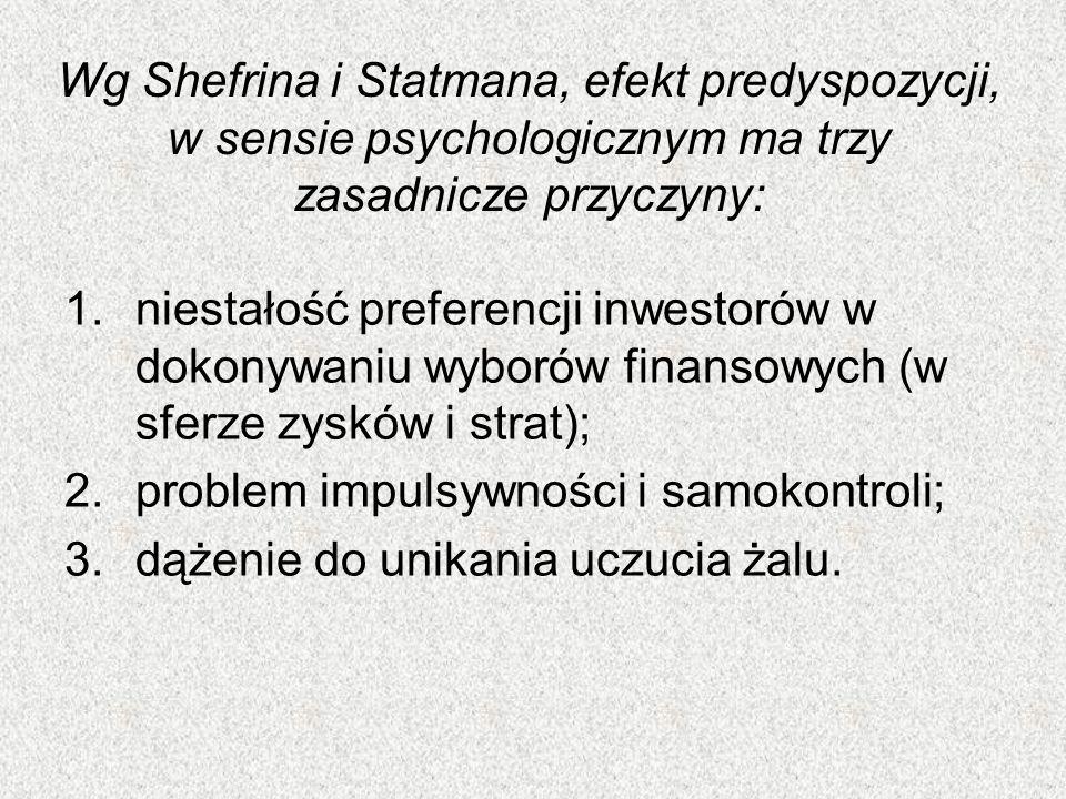 Wg Shefrina i Statmana, efekt predyspozycji, w sensie psychologicznym ma trzy zasadnicze przyczyny: 1.niestałość preferencji inwestorów w dokonywaniu