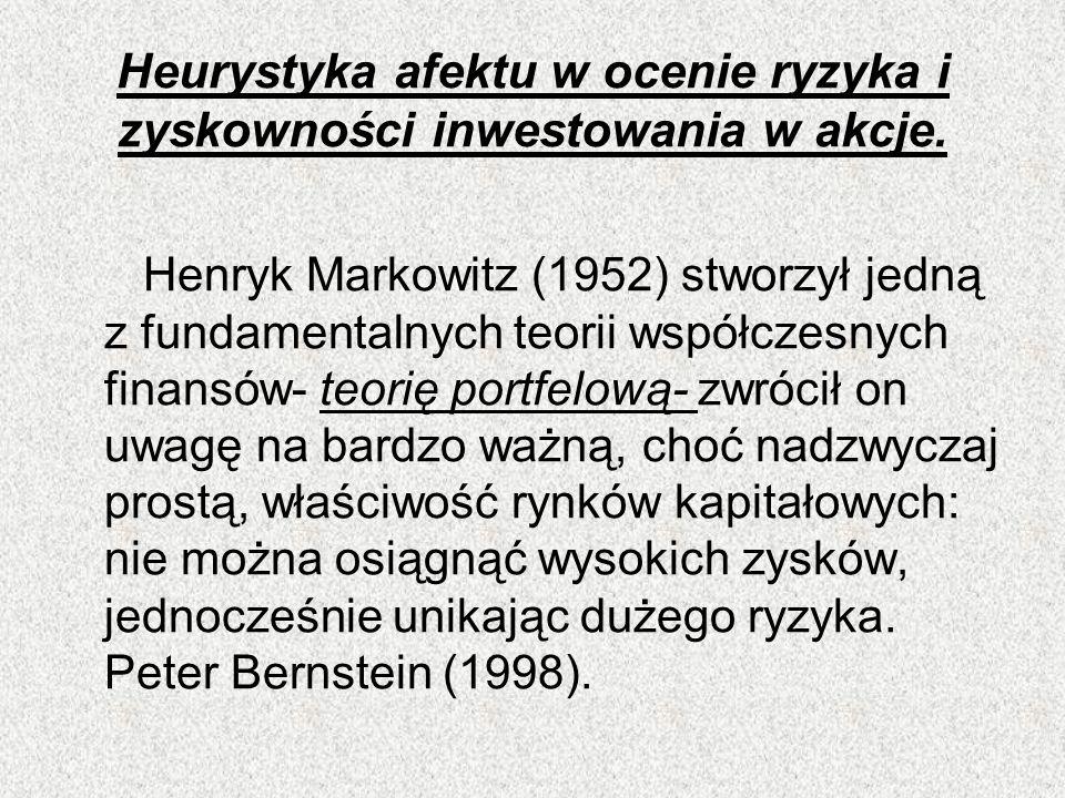 Heurystyka afektu w ocenie ryzyka i zyskowności inwestowania w akcje. Henryk Markowitz (1952) stworzył jedną z fundamentalnych teorii współczesnych fi