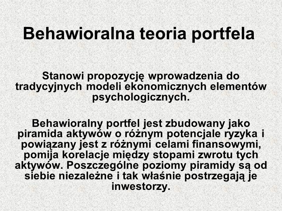 Behawioralna teoria portfela Stanowi propozycję wprowadzenia do tradycyjnych modeli ekonomicznych elementów psychologicznych. Behawioralny portfel jes