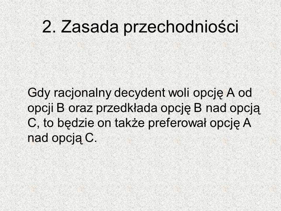 2. Zasada przechodniości Gdy racjonalny decydent woli opcję A od opcji B oraz przedkłada opcję B nad opcją C, to będzie on także preferował opcję A na