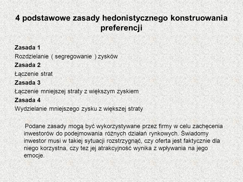 4 podstawowe zasady hedonistycznego konstruowania preferencji Zasada 1 Rozdzielanie ( segregowanie ) zysków Zasada 2 Łączenie strat Zasada 3 Łączenie