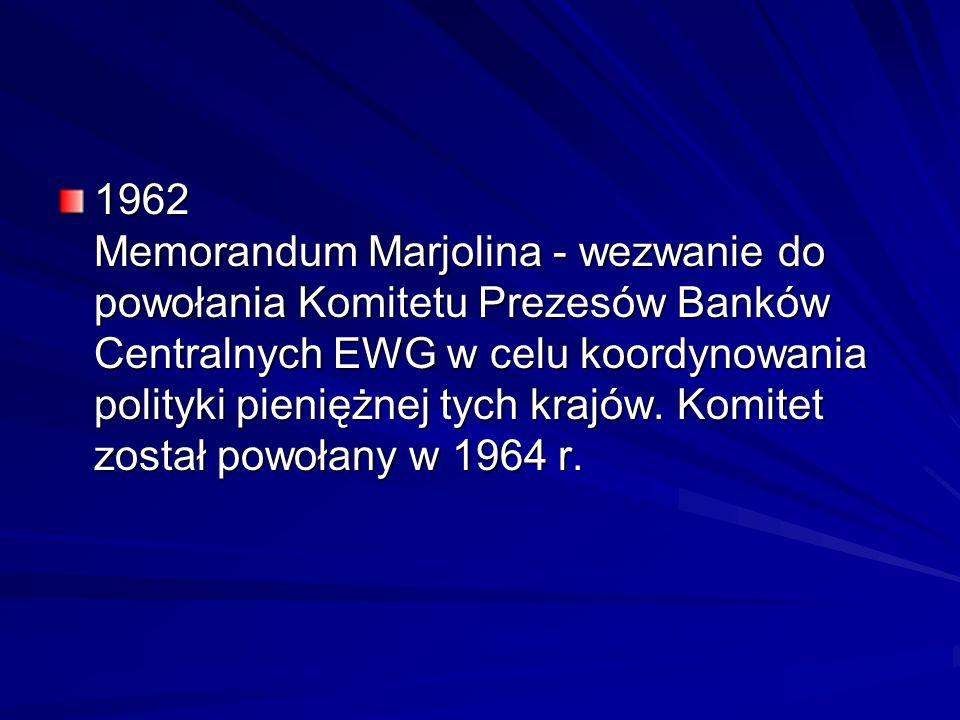 1962 Memorandum Marjolina - wezwanie do powołania Komitetu Prezesów Banków Centralnych EWG w celu koordynowania polityki pieniężnej tych krajów. Komit