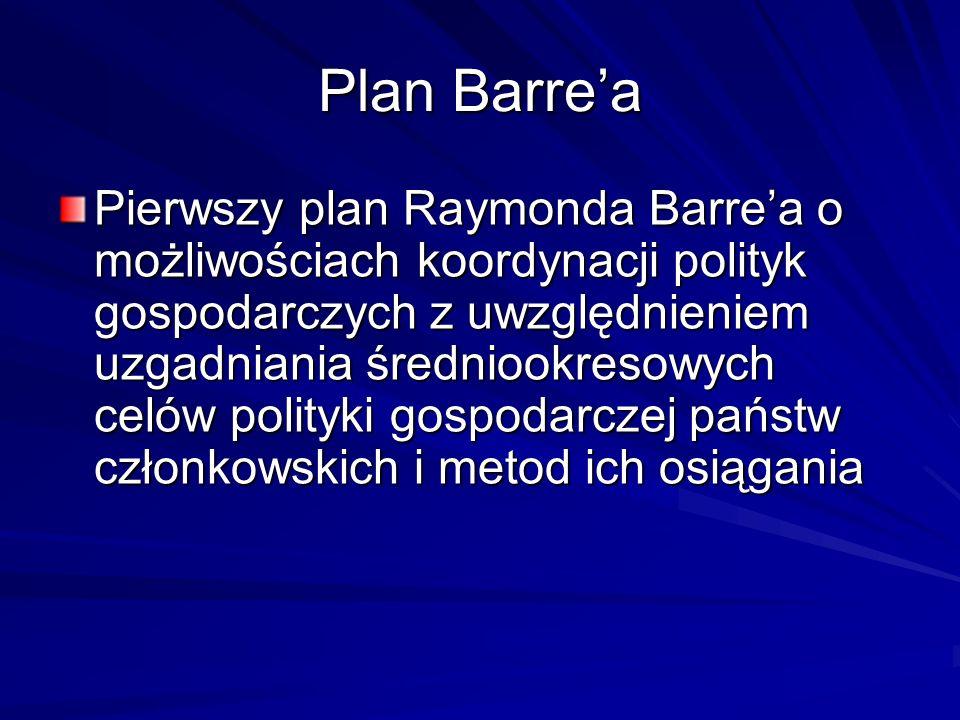 Plan Barrea Pierwszy plan Raymonda Barrea o możliwościach koordynacji polityk gospodarczych z uwzględnieniem uzgadniania średniookresowych celów polit