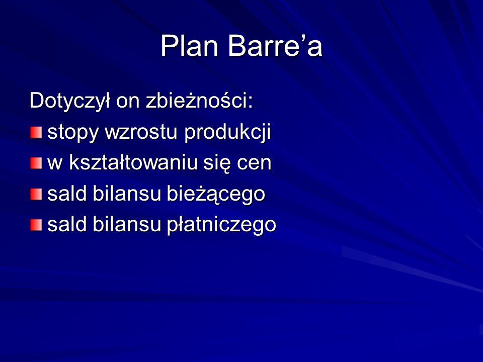 Plan Barrea Dotyczył on zbieżności: stopy wzrostu produkcji w kształtowaniu się cen sald bilansu bieżącego sald bilansu płatniczego