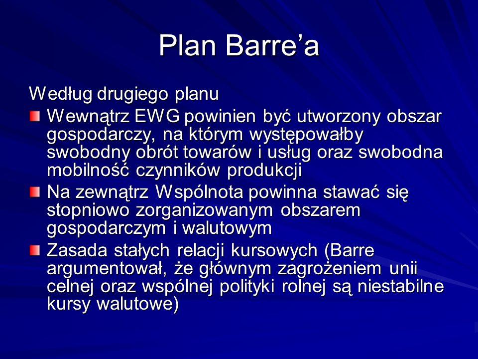 Plan Barrea Według drugiego planu Wewnątrz EWG powinien być utworzony obszar gospodarczy, na którym występowałby swobodny obrót towarów i usług oraz s