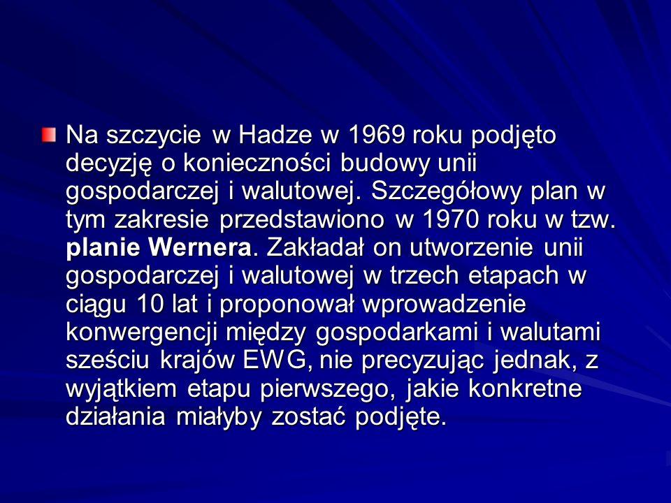 Na szczycie w Hadze w 1969 roku podjęto decyzję o konieczności budowy unii gospodarczej i walutowej. Szczegółowy plan w tym zakresie przedstawiono w 1