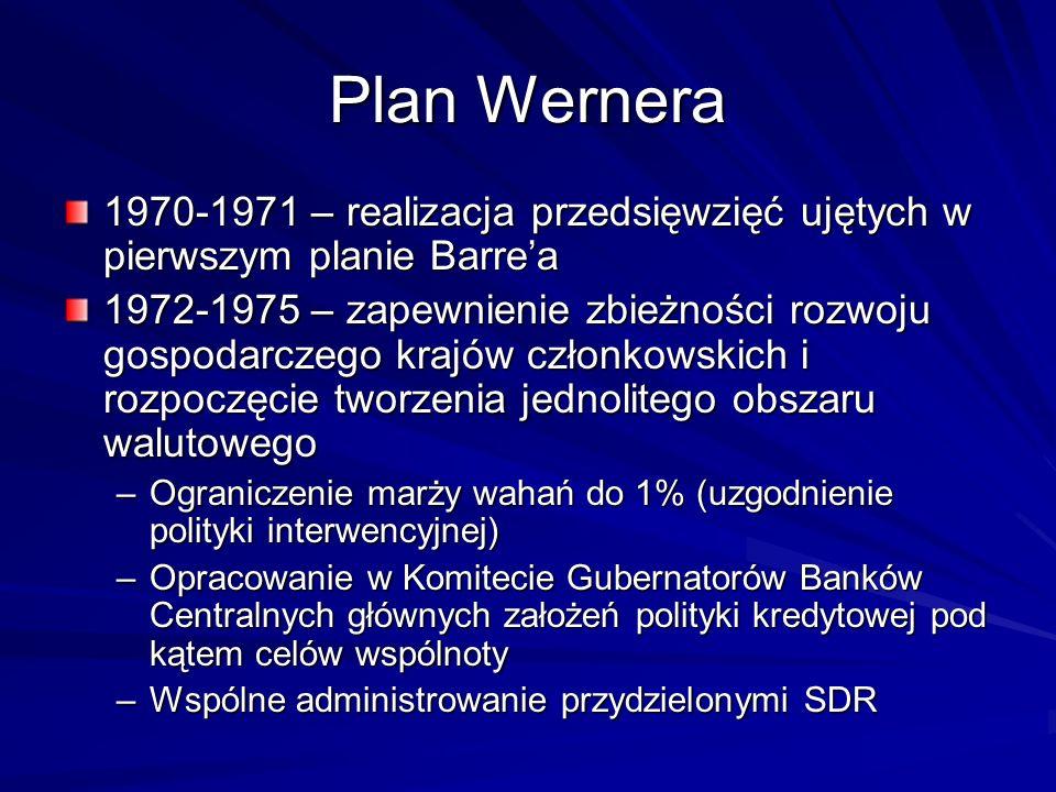 Plan Wernera 1970-1971 – realizacja przedsięwzięć ujętych w pierwszym planie Barrea 1972-1975 – zapewnienie zbieżności rozwoju gospodarczego krajów cz
