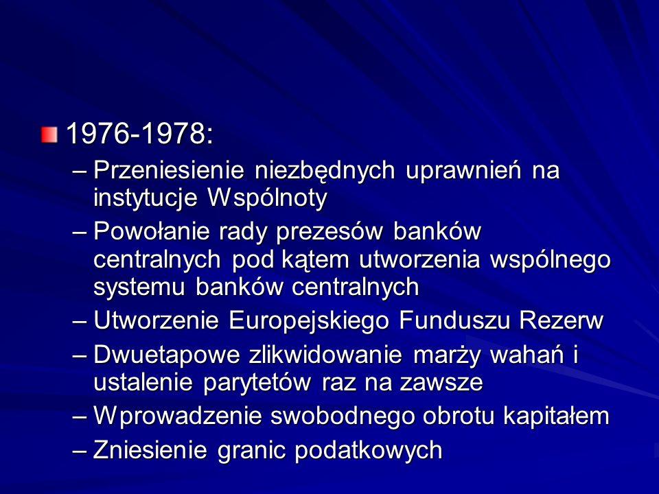 1976-1978: –Przeniesienie niezbędnych uprawnień na instytucje Wspólnoty –Powołanie rady prezesów banków centralnych pod kątem utworzenia wspólnego sys