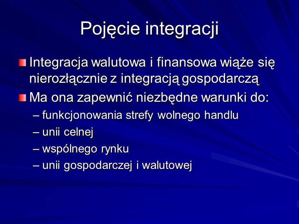 Pojęcie integracji Integracja walutowa i finansowa wiąże się nierozłącznie z integracją gospodarczą Ma ona zapewnić niezbędne warunki do: –funkcjonowa