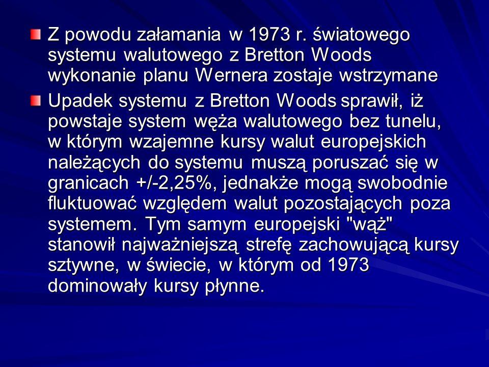 Z powodu załamania w 1973 r. światowego systemu walutowego z Bretton Woods wykonanie planu Wernera zostaje wstrzymane Upadek systemu z Bretton Woods s