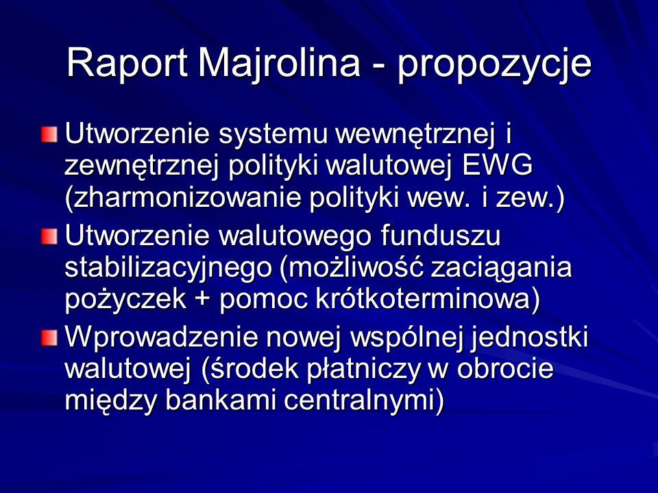 Raport Majrolina - propozycje Utworzenie systemu wewnętrznej i zewnętrznej polityki walutowej EWG (zharmonizowanie polityki wew. i zew.) Utworzenie wa