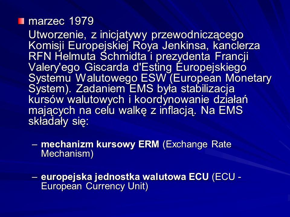 marzec 1979 Utworzenie, z inicjatywy przewodniczącego Komisji Europejskiej Roya Jenkinsa, kanclerza RFN Helmuta Schmidta i prezydenta Francji Valery'e
