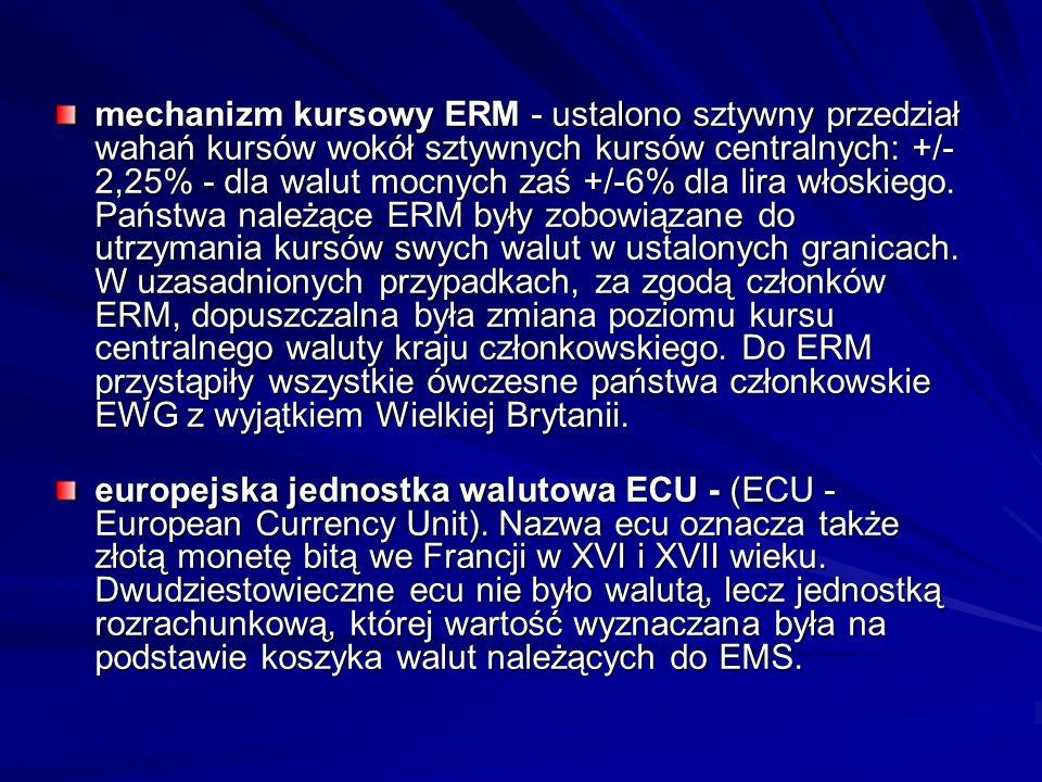 mechanizm kursowy ERM - ustalono sztywny przedział wahań kursów wokół sztywnych kursów centralnych: +/- 2,25% - dla walut mocnych zaś +/-6% dla lira w