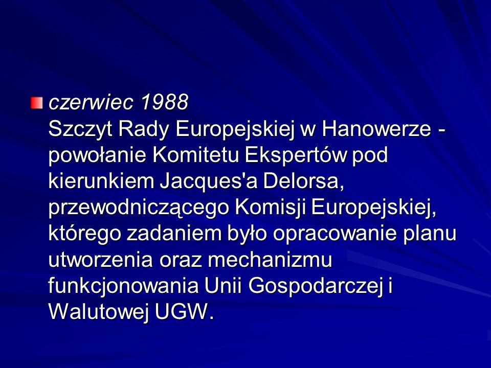 czerwiec 1988 Szczyt Rady Europejskiej w Hanowerze - powołanie Komitetu Ekspertów pod kierunkiem Jacques'a Delorsa, przewodniczącego Komisji Europejsk