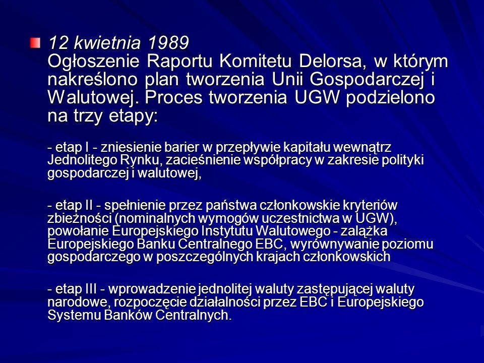 12 kwietnia 1989 Ogłoszenie Raportu Komitetu Delorsa, w którym nakreślono plan tworzenia Unii Gospodarczej i Walutowej. Proces tworzenia UGW podzielon