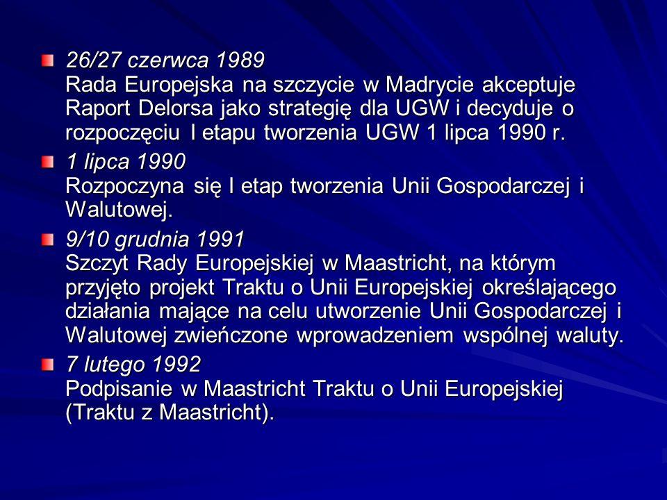 26/27 czerwca 1989 Rada Europejska na szczycie w Madrycie akceptuje Raport Delorsa jako strategię dla UGW i decyduje o rozpoczęciu I etapu tworzenia U