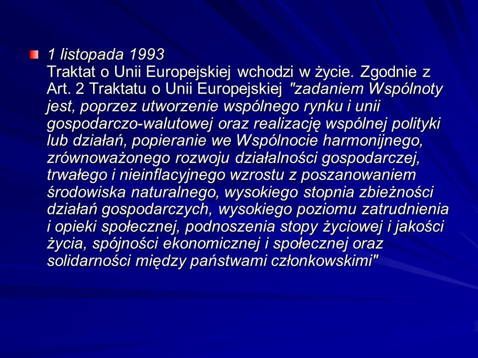 1 listopada 1993 Traktat o Unii Europejskiej wchodzi w życie. Zgodnie z Art. 2 Traktatu o Unii Europejskiej