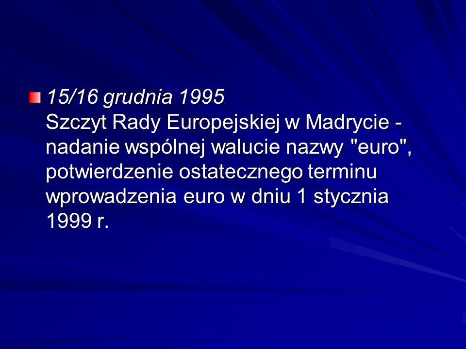 15/16 grudnia 1995 Szczyt Rady Europejskiej w Madrycie - nadanie wspólnej walucie nazwy