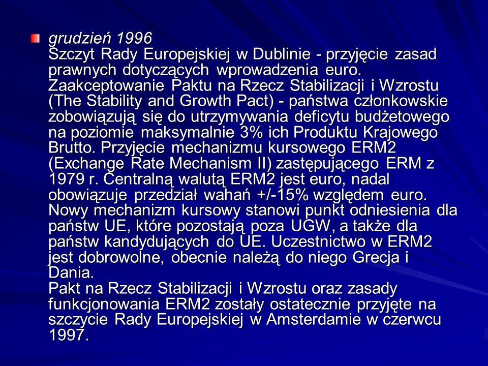 grudzień 1996 Szczyt Rady Europejskiej w Dublinie - przyjęcie zasad prawnych dotyczących wprowadzenia euro. Zaakceptowanie Paktu na Rzecz Stabilizacji