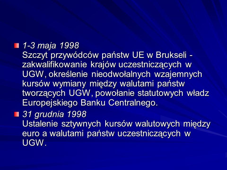 1-3 maja 1998 Szczyt przywódców państw UE w Brukseli - zakwalifikowanie krajów uczestniczących w UGW, określenie nieodwołalnych wzajemnych kursów wymi