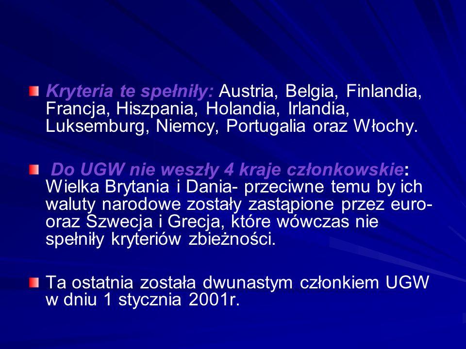 Kryteria te spełniły: Austria, Belgia, Finlandia, Francja, Hiszpania, Holandia, Irlandia, Luksemburg, Niemcy, Portugalia oraz Włochy. Do UGW nie weszł