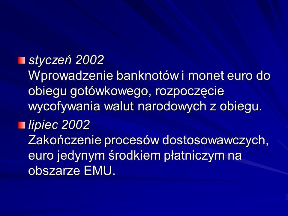styczeń 2002 Wprowadzenie banknotów i monet euro do obiegu gotówkowego, rozpoczęcie wycofywania walut narodowych z obiegu. lipiec 2002 Zakończenie pro