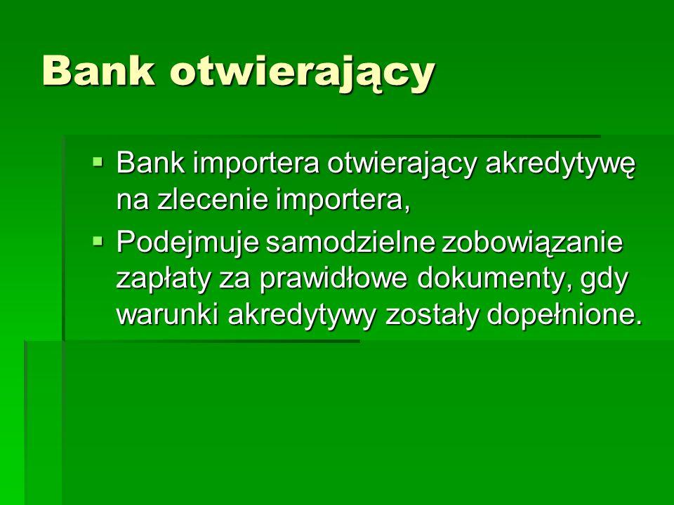 Bank otwierający Bank importera otwierający akredytywę na zlecenie importera, Bank importera otwierający akredytywę na zlecenie importera, Podejmuje s