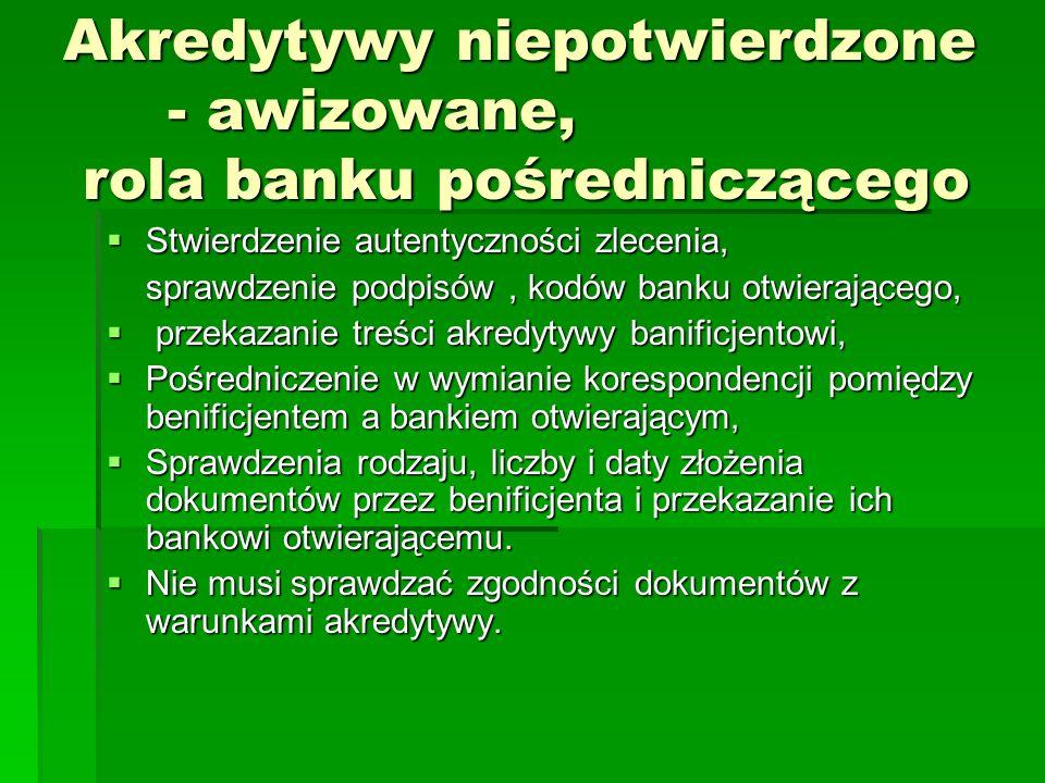 Akredytywy niepotwierdzone - awizowane, rola banku pośredniczącego Stwierdzenie autentyczności zlecenia, Stwierdzenie autentyczności zlecenia, sprawdz