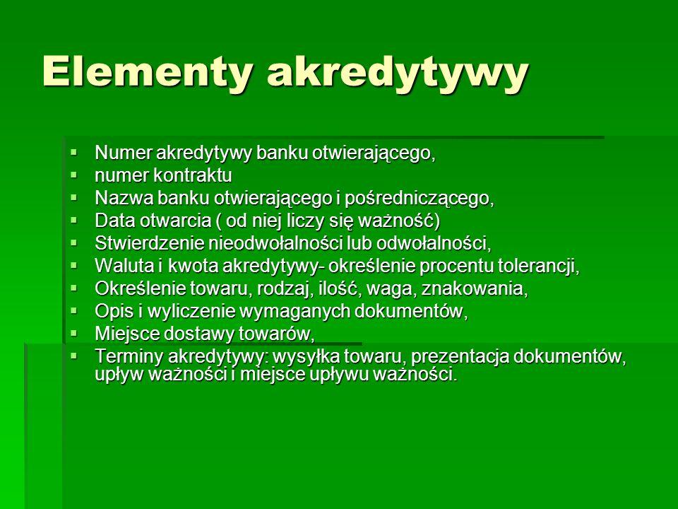 Elementy akredytywy Numer akredytywy banku otwierającego, Numer akredytywy banku otwierającego, numer kontraktu numer kontraktu Nazwa banku otwierając