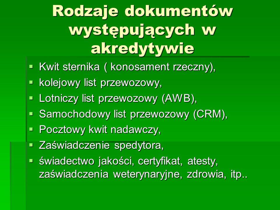 Rodzaje dokumentów występujących w akredytywie Kwit sternika ( konosament rzeczny), Kwit sternika ( konosament rzeczny), kolejowy list przewozowy, kol