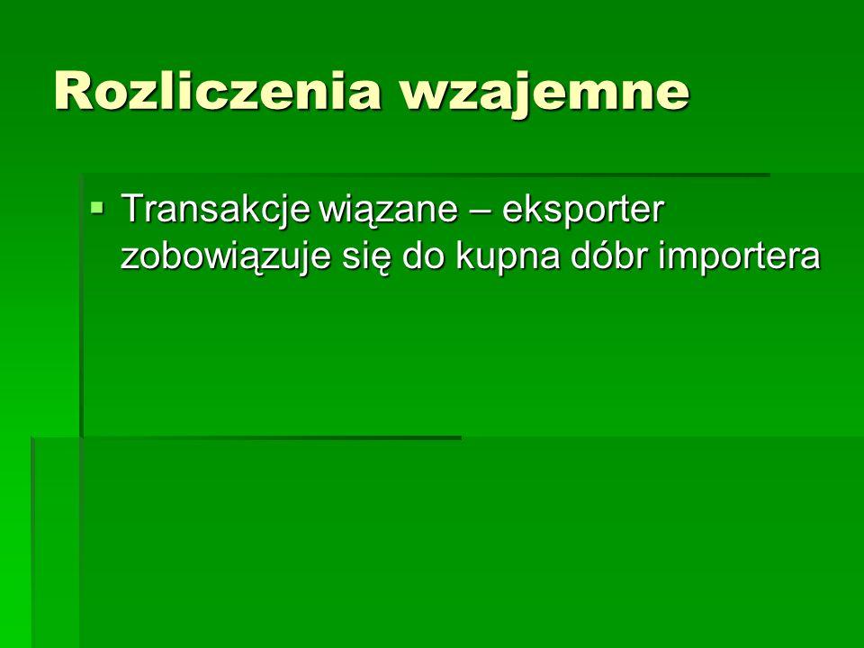 Rozliczenia wzajemne Transakcje wiązane – eksporter zobowiązuje się do kupna dóbr importera Transakcje wiązane – eksporter zobowiązuje się do kupna dó