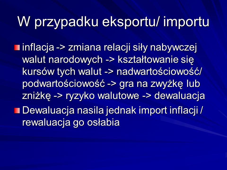 W przypadku eksportu/ importu inflacja -> zmiana relacji siły nabywczej walut narodowych -> kształtowanie się kursów tych walut -> nadwartościowość/ p
