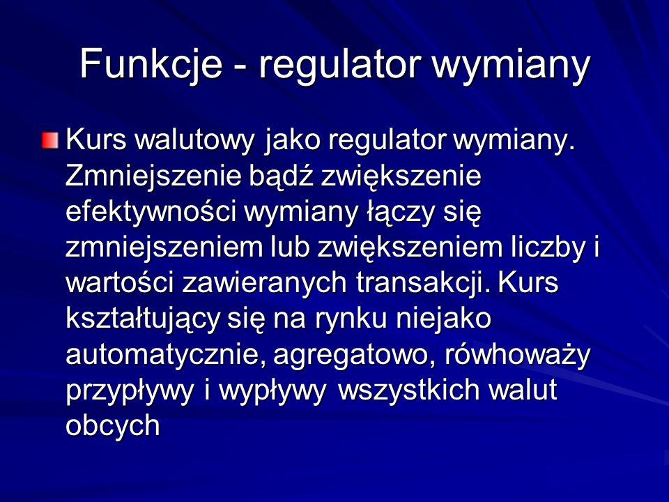 Funkcje - regulator wymiany Kurs walutowy jako regulator wymiany. Zmniejszenie bądź zwiększenie efektywności wymiany łączy się zmniejszeniem lub zwięk