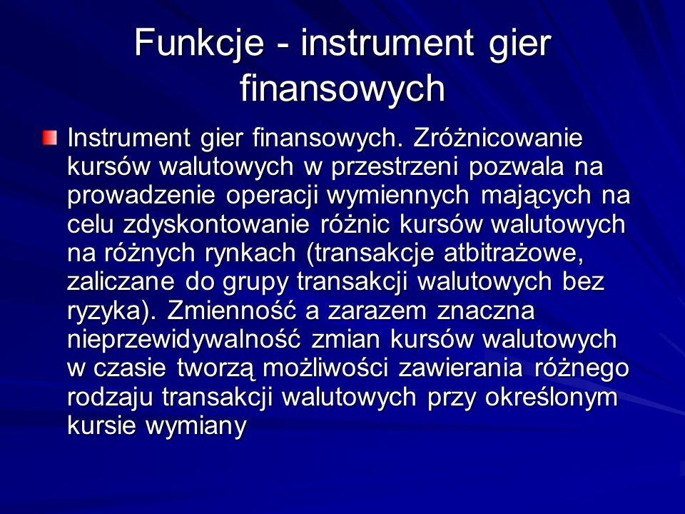 Funkcje - instrument gier finansowych Instrument gier finansowych. Zróżnicowanie kursów walutowych w przestrzeni pozwala na prowadzenie operacji wymie