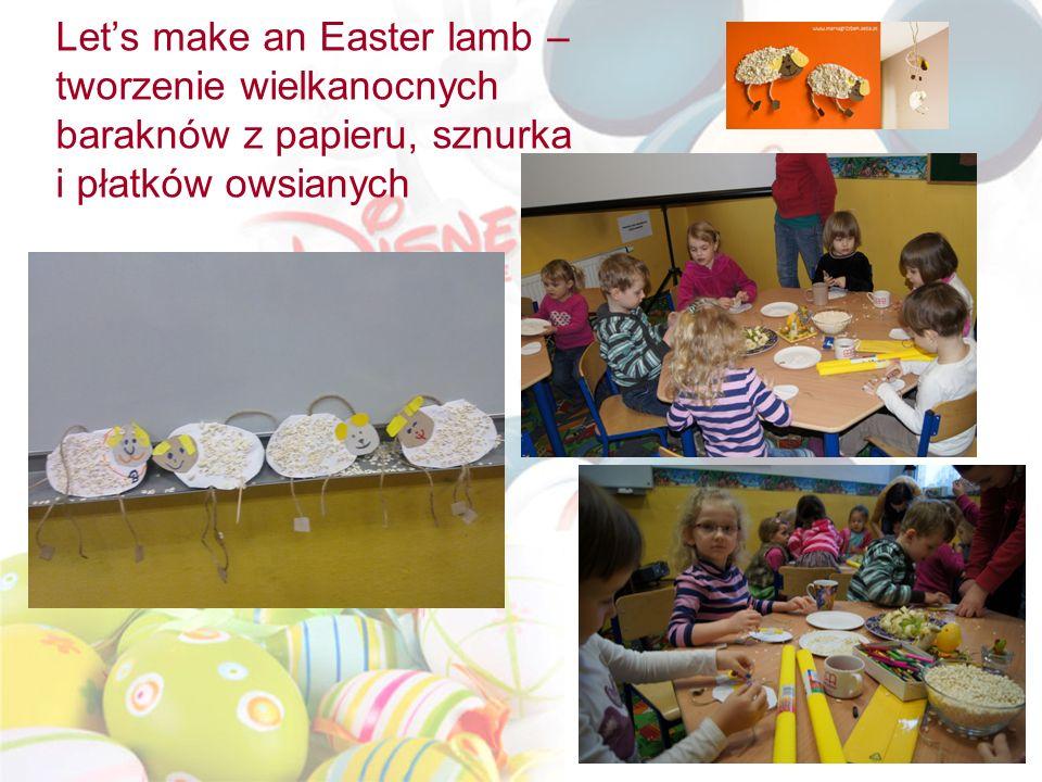 Lets make an Easter lamb – tworzenie wielkanocnych baraknów z papieru, sznurka i płatków owsianych
