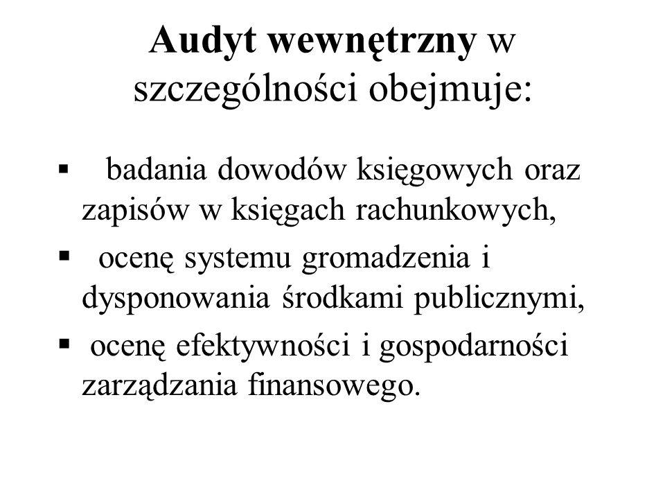 Audyt wewnętrzny w szczególności obejmuje: badania dowodów księgowych oraz zapisów w księgach rachunkowych, ocenę systemu gromadzenia i dysponowania ś