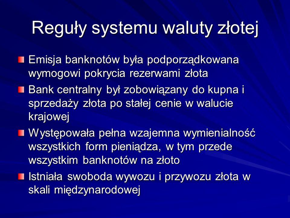 Reguły systemu waluty złotej Emisja banknotów była podporządkowana wymogowi pokrycia rezerwami złota Bank centralny był zobowiązany do kupna i sprzeda
