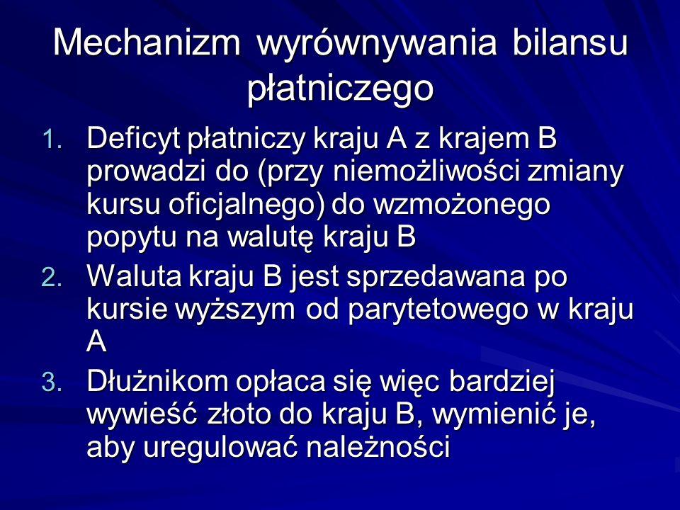 Mechanizm wyrównywania bilansu płatniczego 1. Deficyt płatniczy kraju A z krajem B prowadzi do (przy niemożliwości zmiany kursu oficjalnego) do wzmożo