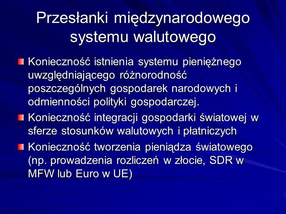 Przesłanki międzynarodowego systemu walutowego Konieczność istnienia systemu pieniężnego uwzględniającego różnorodność poszczególnych gospodarek narod