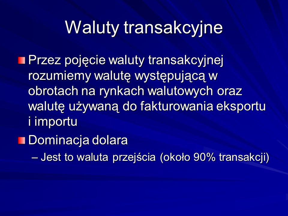 Waluty transakcyjne Przez pojęcie waluty transakcyjnej rozumiemy walutę występującą w obrotach na rynkach walutowych oraz walutę używaną do fakturowan