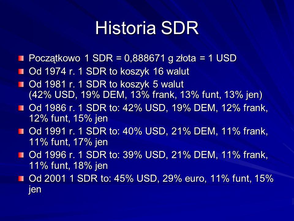 Historia SDR Początkowo 1 SDR = 0,888671 g złota = 1 USD Od 1974 r. 1 SDR to koszyk 16 walut Od 1981 r. 1 SDR to koszyk 5 walut (42% USD, 19% DEM, 13%