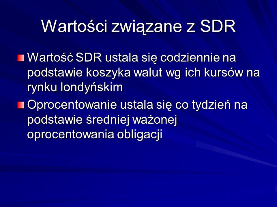 Wartości związane z SDR Wartość SDR ustala się codziennie na podstawie koszyka walut wg ich kursów na rynku londyńskim Oprocentowanie ustala się co ty