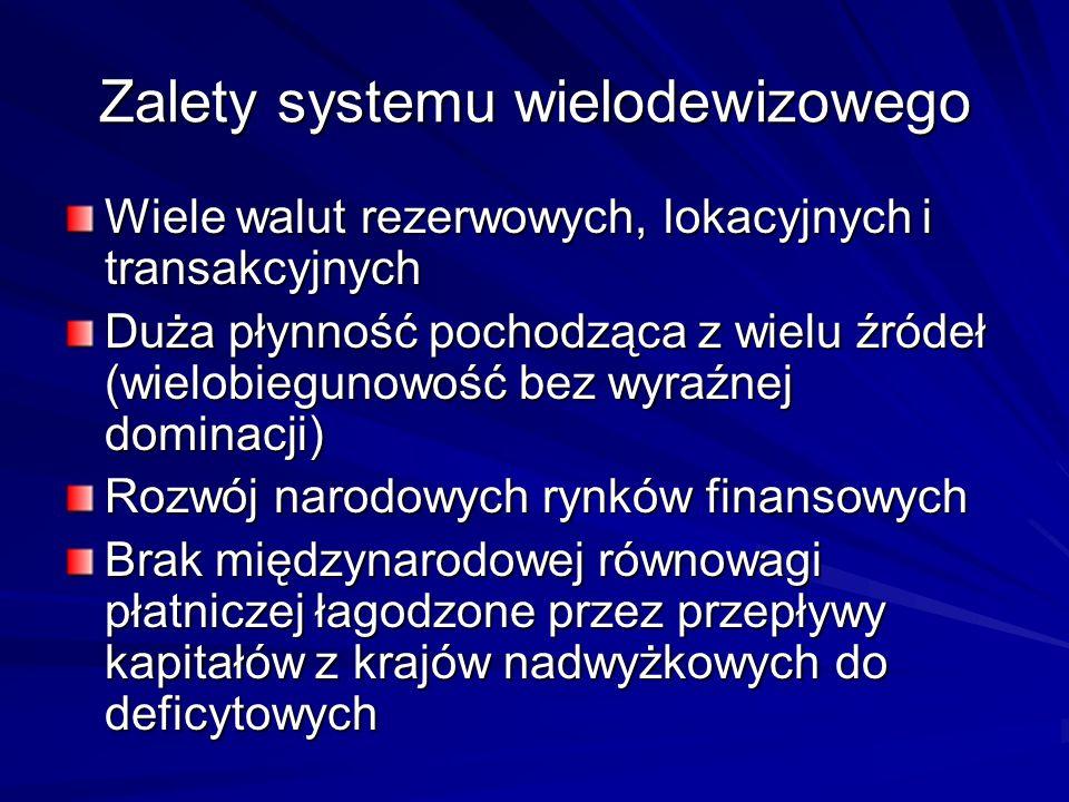 Zalety systemu wielodewizowego Wiele walut rezerwowych, lokacyjnych i transakcyjnych Duża płynność pochodząca z wielu źródeł (wielobiegunowość bez wyr