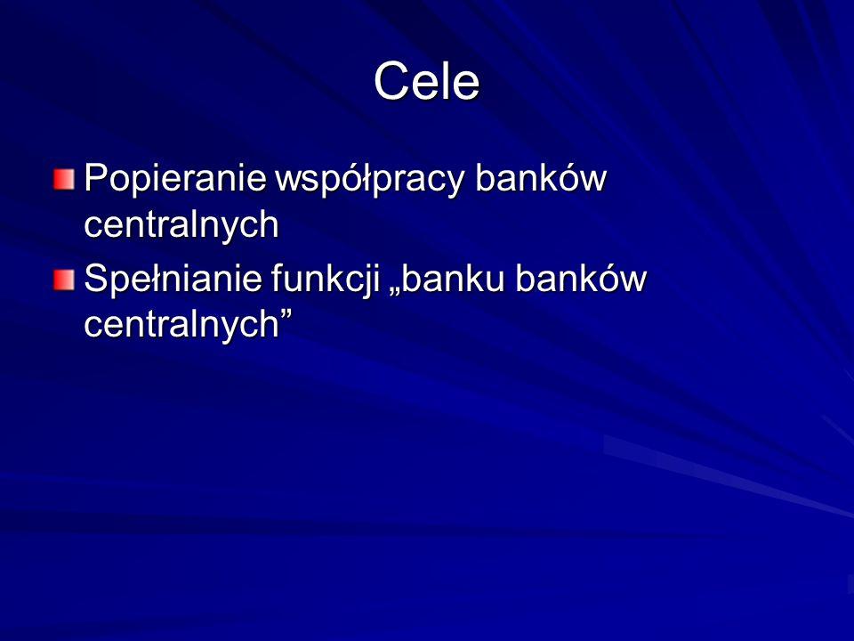 Cele Popieranie współpracy banków centralnych Spełnianie funkcji banku banków centralnych